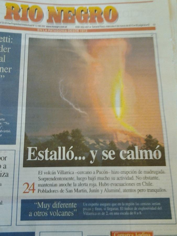 Portada del diario, en San Martín